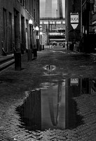 St. Louis Arch Reflection on St. Louis Laclede's Landing in Black and White